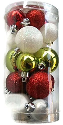 Holiday Time Miniature Christmas Tree Shatterproof Ornaments - Red, Green, White - 20 Count by Holiday Time