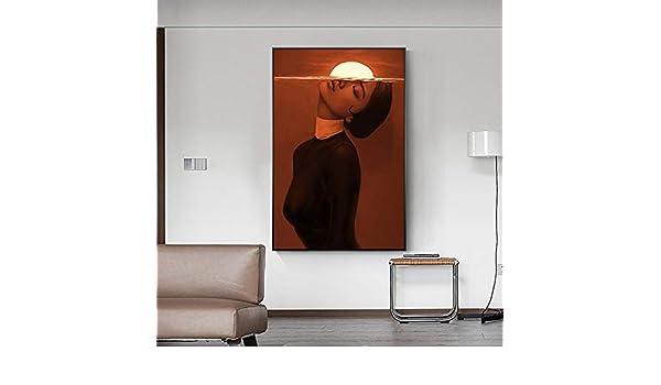 IHlXH Sin Marco Arte Abstracto Chica Amanecer Rojo Cuadros Lienzo Pintura Pared Arte para Sala Moderna Imagen Decorativa <> 40x60 cm: Amazon.es: Hogar