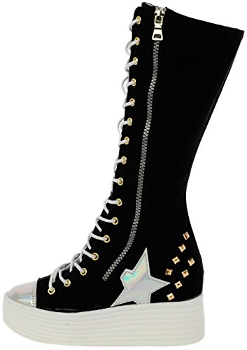Maxstar 568 White Black Synthetic Platform Boots Studed Leather rrwTdx4