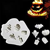 2 Pack Halloween Ghost Tombstone Silicone Mold Fondant Mould Cake Decorating Tool Chocolate Mold Kitchen Gadget