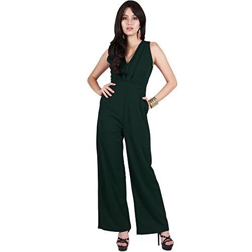4ef8ebd87cc88 chic Viris Zamara Womens Long Pleated V-Neck Sleeveless Slimming Pockets  Evening Jumpsuit