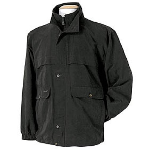 Monterey Club Mens Peached Satin Dual Collar Water Repellent Jacket #1720 (Black, 2X-Large)
