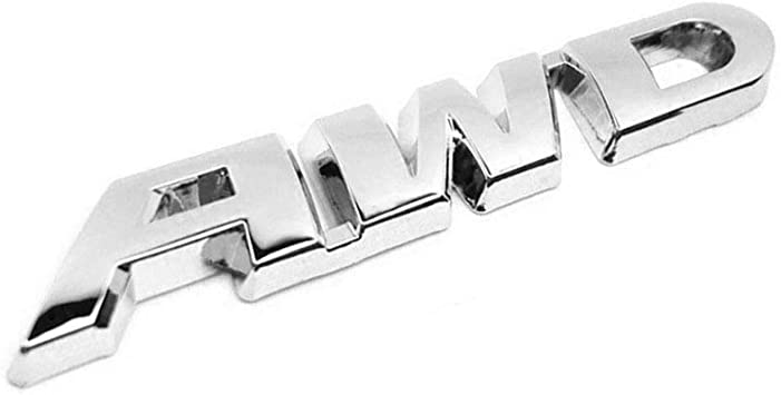 Silver Car AWD Metal Emblem Badge Decal Sticker for 4 Wheel Drive SUV Tailgate