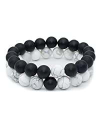 Bivei Black Matte Agate Onyx & White Howlite 10mm Beads His and Hers Distance Bracelets For Couples,Best Friends,Family