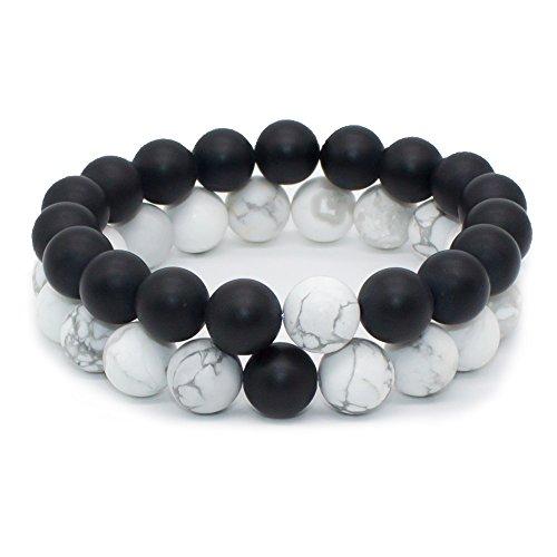 Finish Black Agate Onyx White Howlite Healing Power Energy Crystal Gemstone Beaded Distance Bracelet for Men and Women(Set of 2) (Crystal Beaded Friendship Bracelet)
