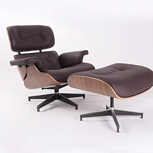 Modern Sources - Mid Century Recliner Lounge Chair with Ottoman Real Wood Genuine Italian Leather Eames Replica (Brown Walnut)
