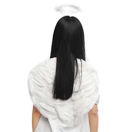 JUIOKK Black White Feather Dark Angel Fairy Wings Halo Fancy Dress Party Photo Props Gothic Costume Halloween Party Events Supplies
