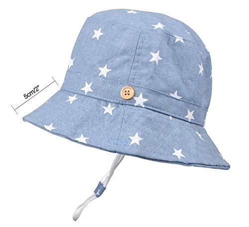 Baby Sun Hat Toddler Kids UPF 50+ UV Ray Sun Protection Wide Brim Bucket Swimwear Animal Hat (1-2 Years, Light Blue Stars)