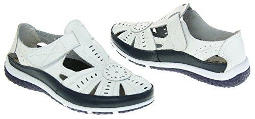 Mujer Azul Y Merceditas Para Zapatos Premier Cuero Sandalias Blanco Coolers Marino qp6tnB4w