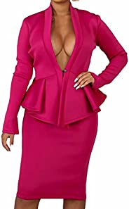 2 Piece Suit Sets - Stretchy 2 Piece Outfits for Women Solid Blazer Jacket Coat Sets