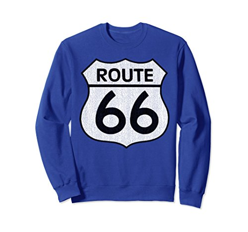 Unisex Historical Route 66 Distressed Vintage Sweatshirt Small Royal Blue