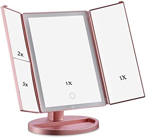 メイクアップミラー、1X / 2X / 3X拡大鏡ライトアップミラー180の回転を調光LightsTouch画面で点灯するLED卓上バニティミラーを三つ折り W1XX (Color : Black)