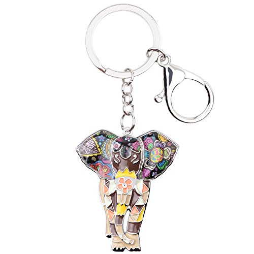 (BONSNY Enamel Metal Chain Jungle Elephant Key Chains For Women Car Purse Handbag Charms (Brown))