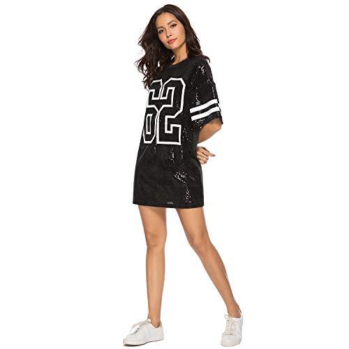 PORRCEY Juniors Short Sleeve Sequin Funny Dress Shirts (Small, Black 2)