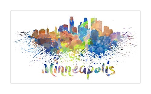 Minneapolis - Vivid Watercolor Skylines - 24x13 Matte Poster Print Wall Art
