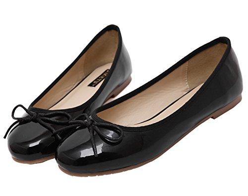 Dqq Toe Zapatos La Bowknot Sandalias De Planas Negro Ronda Mujer CnCqABvFSw