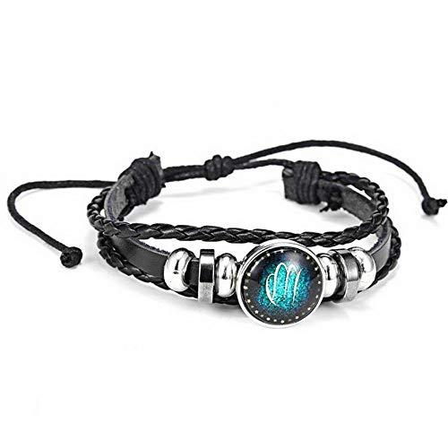 Mikash 12 Zodiac Signs Braid ZINC Leather Fashion Vintage Bracelet Men Women Punk Braid | Model BRCLT - 12429 |