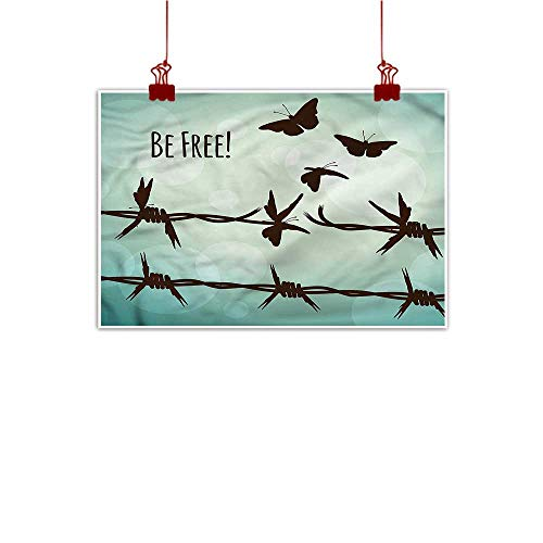 (Sunset glow Outdoor Nature Inspiration Poster Wilderness Barbed Wire,Be Free Liberty Theme 48