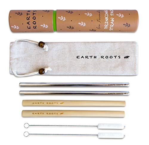 Reusable Straw Set: 2 Stainless Steel Straws + 2 Bamboo Straws + 2 Cotton Cleaning Brushes + Handcrafted Travel Case - For Hot And Cold Drinks, Portable, Perfect for Gift, by Earth Roots.