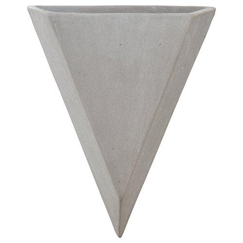 Earthenware Planter - Rivet Modern Triangular Earthenware Indoor Wall Hanging Mount Planter Flower Pot - 7 Inch, Grey