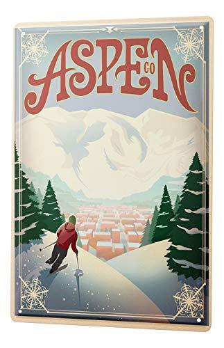 Tin Sign World Tour Aspen ski area skiers Switzerland Metal Plate 8X12