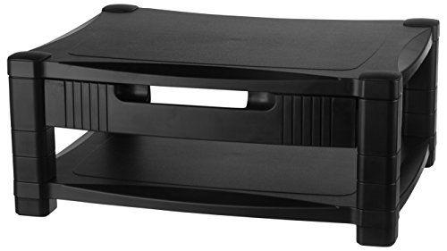 Kantek Two-Level Height-Adjustable Monitor/Laptop Stand, Removable Drawer, 17 X 13 X 3 to 7 Inches, Black (MS480)