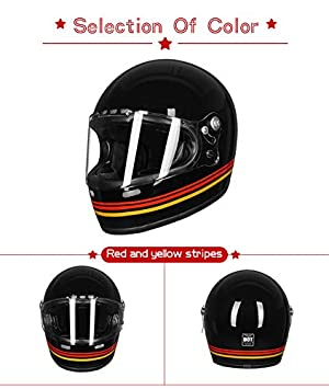 Casco integrale da moto con rivestimento in fibra di vetro e logo DOT Touring Bobber stile retr/ò VCOROS unisex