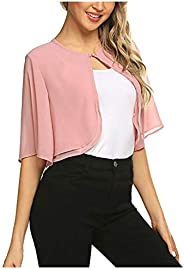 BingYELH Women's Short Sleeve Solid Color Shrug Sheer Cropped Cardigan Chiffon Bolero Jacket