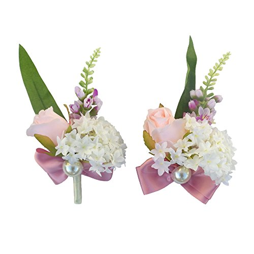 (Abbie Home Pink Blush Rose Bud Boutonniere and Wrist Corsage Set Brooch Pin for Prom Wedding Party Flower Décor)
