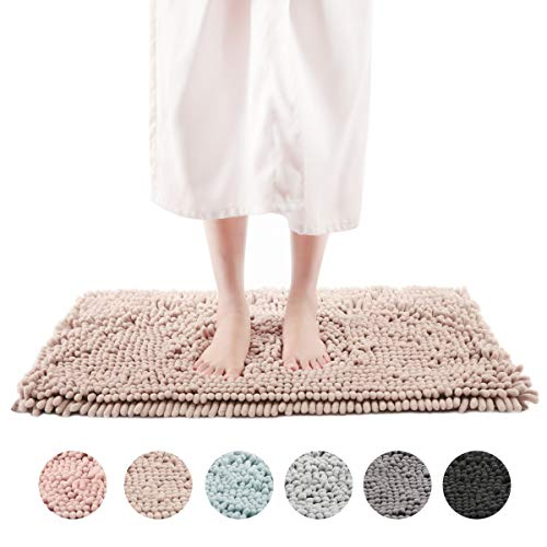 Bath Chenille (Freshmint Chenille Bath Rugs Extra Soft and Absorbent Microfiber Shag Rug, Non-Slip Runner Carpet for Tub Bathroom Shower Mat, Machine-Washable Durable Thick Area Rugs(20
