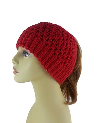 ae0574a8564 Amazon.com  Ponytail Hat Messy Bun Beanie for Women Red Alpaca Crochet Made  in USA  Handmade