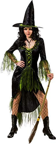 Ladies Green Witch Wicked Evil Halloween TV Book Film Horror Fancy Dress Costume Outfit (UK 10-12 (EU 38/40)) -