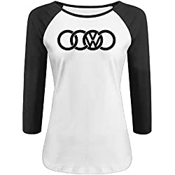 Women's VW Audi Logo 100% Cotton 3/4 Sleeve Athletic Baseball Raglan T-Shirt Black US Size XXL