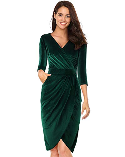 LECCECA Womens V Neck 3/4 Sleeves Velvet Bodycon Pencil Wrap Dress Sexy Cocktail Wedding Party with Pockets Green, M