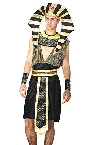 Egyptian Dress Up Ideas (Adult Men Great Pharaoh Costume Headdress Egyptian King Tut Dress Up Role Play (Medium/Large, Black, Gold))