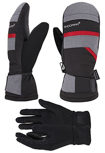 Layer Mitten (ANDORRA Hyper Tech Touchscreen Ski Mittens w/ Pockets & Optional Light Inner Gloves, Lens-Wiper Thumbs,S/M,Grey+Black)
