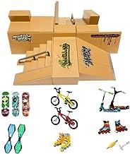 Kidsdream Skate Park Kit Ramp Parts for Finger Skateboard Ultimate Parks Training Props with 19 Pieces of Skat
