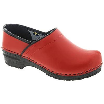 Bjork PRO Ella Red Leather Clogs