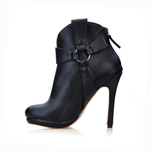 Haut Banquet À Chaussures Talon Milieu Nouveau De Black Boucle Ronde Femme L'hiver Chers Tête Boot Noire x1qOUpX