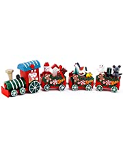 Christmas Train Decorations Painted Wooden Mini Train Gift Toys with 3 Carriages Deluxe Train Set for Christmas Decorations Party, Home Desktop Kindergarten Ornament