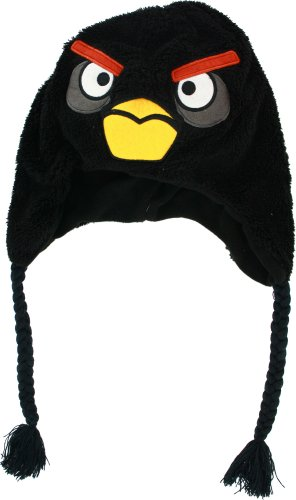 Felt Shark Hat (Angry Birds Black Plush Peruvian Hat w/ Fleece)