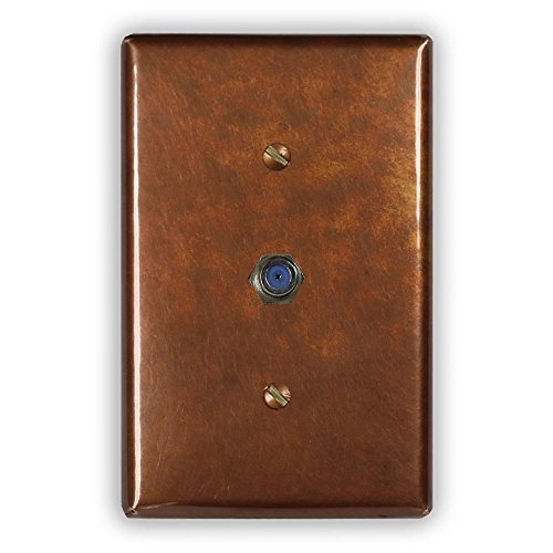 Antique Copper 1 Cable Jack Wallplate by Copper Ventures