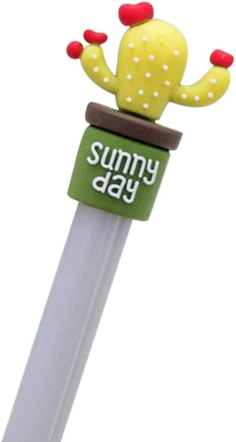 Anyren 4 PCS Black Gel Pen Sunny Day Potted Plant Cactus Head Black Gel Ink Pen Ballpoint Student Erasable Needle Point Marker Pen