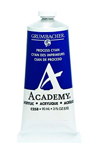 Grumbacher Academy Acrylic Paint, 90ml/3 oz Metal Tube, Process Cyan