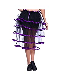 Blidece Women Burlesque Bustle Party Basic Tutu Tail Skirt Fancy Dress w/ Ribbon Trim