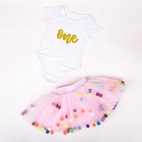 12eb19e463e5 Baby Girls 1st Birthday Outfit Glitter One Romper Balls Skirt Crown Headband  (Gold Pink01,