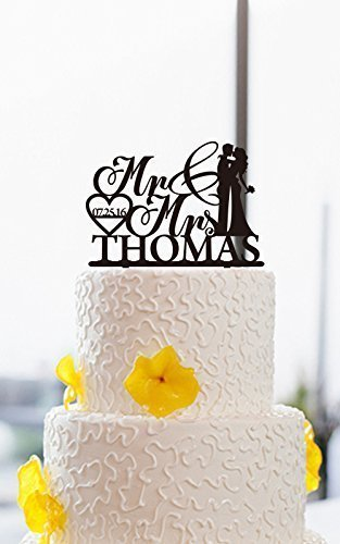Wedding Cake Toppers Bride And Groom Mr And Mrs Personalized With Name And  Date Heart Wedding