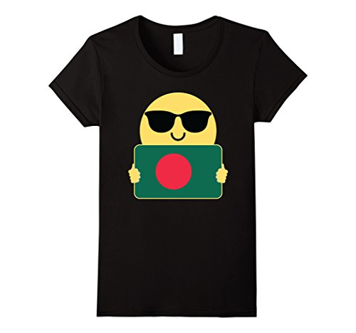 Womens Bangladesh Shirt Sunglasses Emoji T-Shirt Tee XL Black