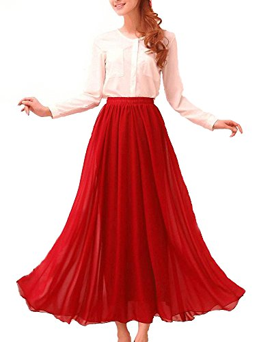 Afibi Womens Chiffon Retro Long Maxi Skirt Vintage Dress (Small, Red) ()