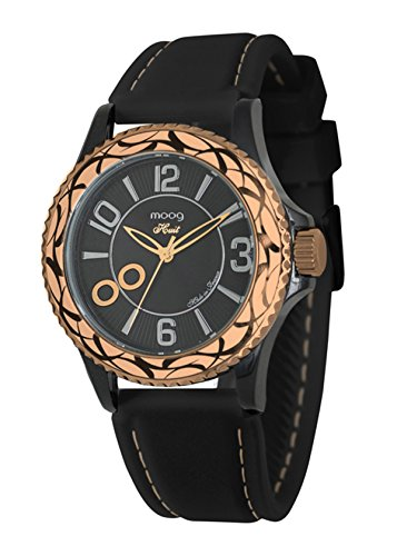Moog Paris Huit Women's Watch with Black Dial, Black Strap in Silicon - M45524-003
